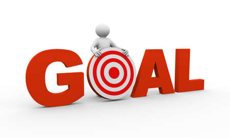 achieving: 3d illustration of man holding target of word goal. Concept of successful achieving target and goal. 3d human person character and white people.