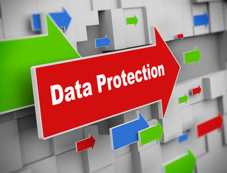 https: 3d illustration of moving arrow of data protection on abstract wall background.