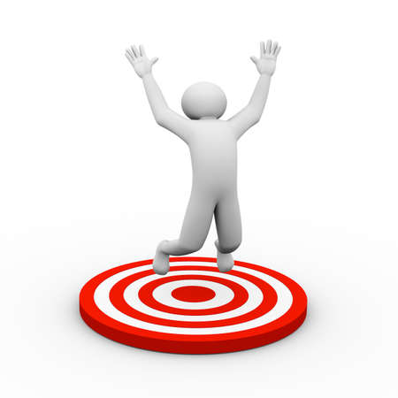 man jumping: 3d illustration of man joy jumping on target after success and achieving target. 3d human person character and white people.
