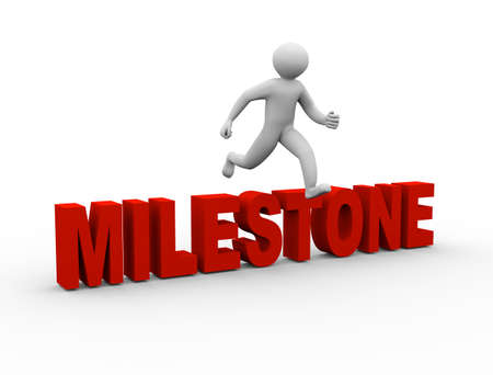3d illustration of person jumping over word milestone. 3d human person character and white people.