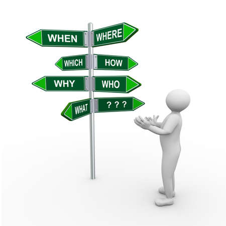 unanswered: 3d illustration of confused person and question words signpost road sign.  3d human person character and white people. Stock Photo