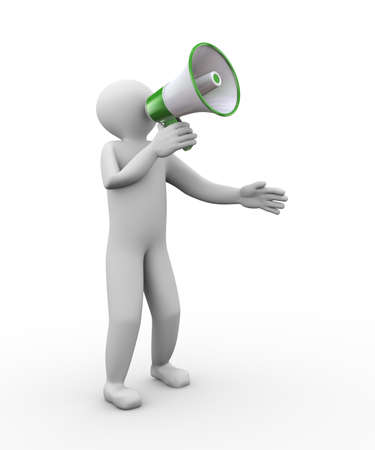 expostulate: 3d illustration of person yelling through megaphone. 3d human person character and white people.