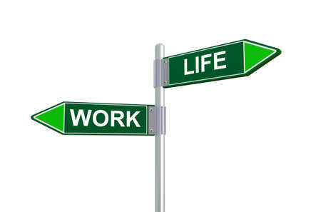 career life: 3d illustration of work and life road sign.
