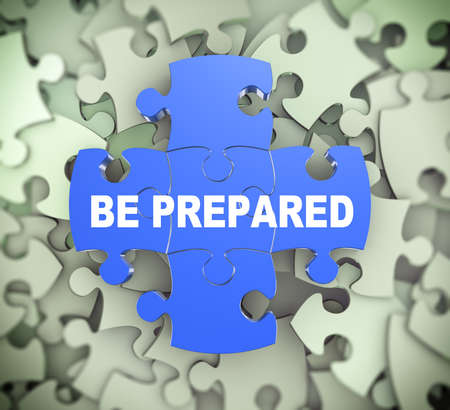 be prepared: 3d illustration of attached jigsaw puzzle pieces concept be prepared presentation on background of heap of puzzle pieces.