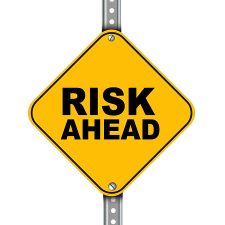 risk ahead: Illustration of yellow signpost road sign of risk ahead