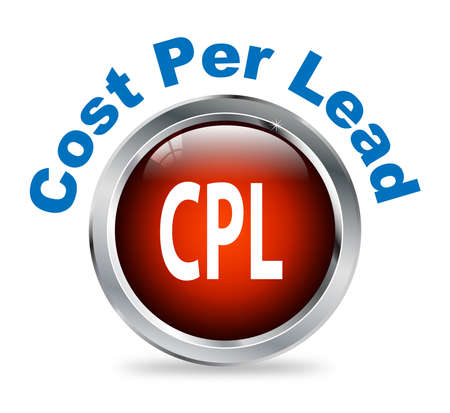cpl: Illustration of shiny round glossy button of cost per lead - cpl