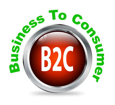 b2e: Illustration of shiny round glossy button of business to consumer - b2c Stock Photo