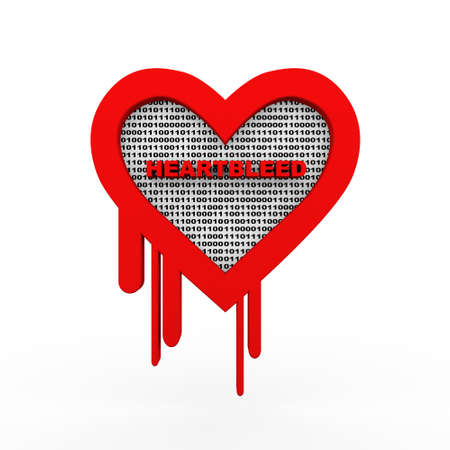 breach: 3d illustration of openssl heartbleed sucrity breach symbol showing binary data Stock Photo
