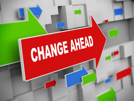 adapting: 3d illustration of moving arrow of change ahead on abstract wall background. Stock Photo