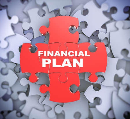 financial plan: 3d illustration of attached jigsaw puzzle pieces phrase financial plan presentation on background of heap of puzzle pieces