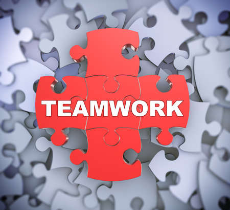 3d illustration of attached jigsaw puzzle pieces word teamwork presentation on background of heap of puzzle pieces