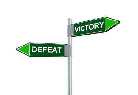 defeat: 3d illustration of defeat and victory road sign