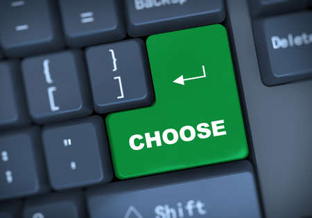 choose: 3d illustration of computer keyboard enter button with word choose Stock Photo
