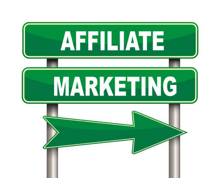 affiliate: Illustration of green arrow and road sign of affiliate marketing