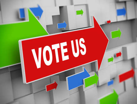 feedback link: 3d illustration of moving arrow of vote us on abstract wall background