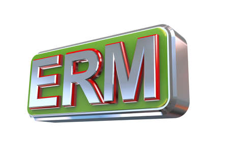 erm: 3d illustration concept presentation of erm - enterprise risk management