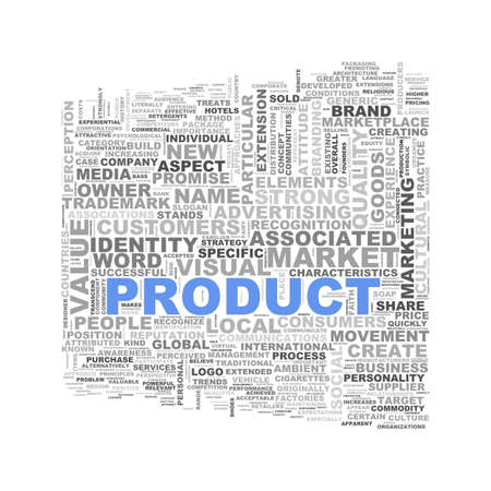 branded product: Illustration of wordcloud word tags of concept of product