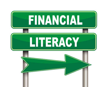 Illustration of green arrow and road sign of Financial literacy Stock Illustration - 51001966