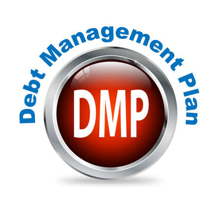 debt management: Illustration of shiny round glossy button of debt management plan - dmp Stock Photo