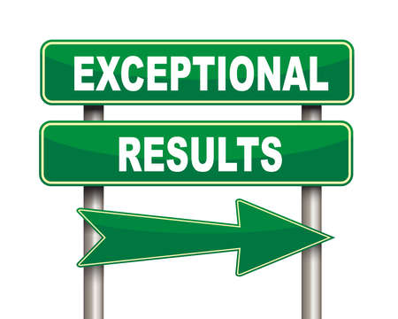 exceptional: Illustration of green arrow and road sign of exceptional results