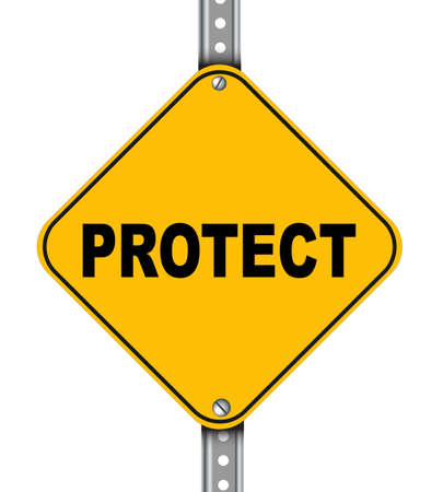assure: Illustration of yellow signpost road sign of protect