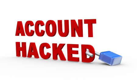 hacked: 3d illustration of concept of account hacked and padlock