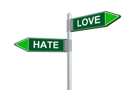 hate: 3d illustration of hate and love road sign