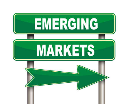 emerging markets: Illustration of green arrow and road sign of emerging markets