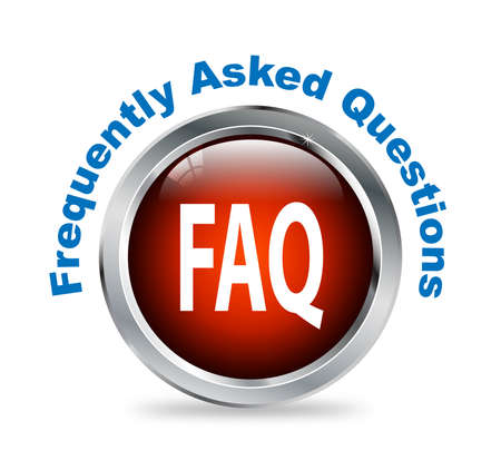 frequently: Illustration of shiny round glossy button of frequently asked questions - faq Stock Photo
