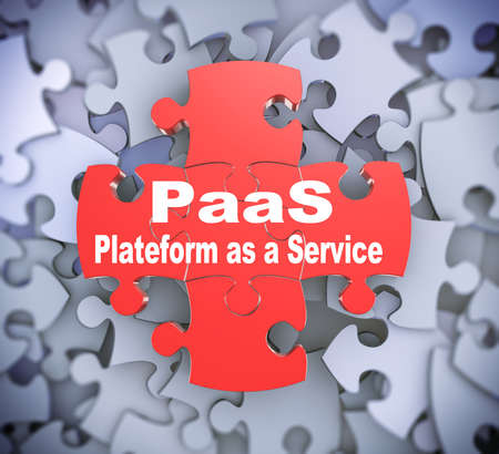 complete solution: 3d illustration of attached jigsaw puzzle pieces paas plateform as a service presentation on background of heap of puzzle pieces