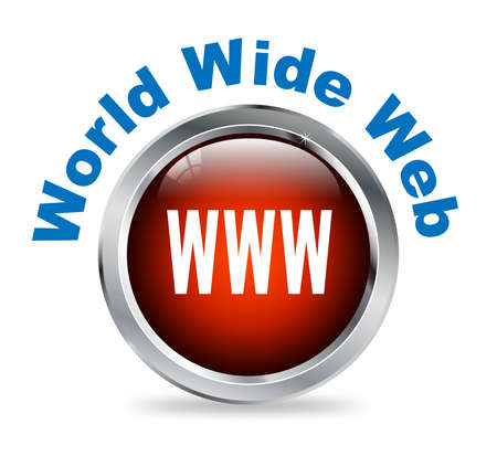 webhost: Illustration of shiny round glossy button of  World Wide Web - www