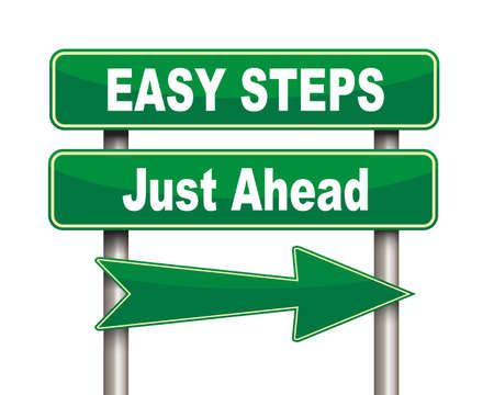 steadily: Illustration of green arrow and road sign of easy steps just ahead Stock Photo