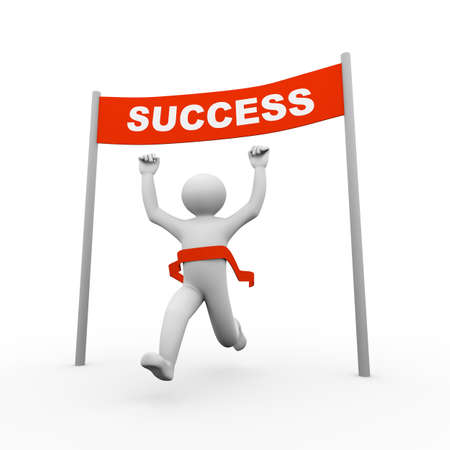 3d illustration of running person crossing winning success banner. 3d human person character and white people Stock Photo