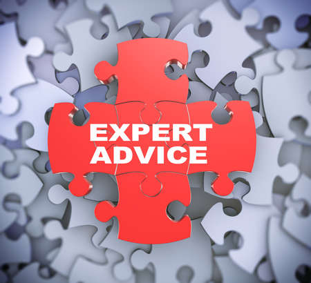 supportive: 3d illustration of attached jigsaw puzzle pieces phrase expert advice presentation on background of heap of puzzle pieces