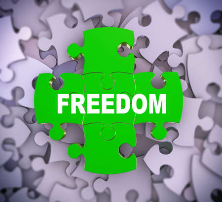 3d illustration of attached jigsaw puzzle pieces word freedom presentation on background of heap of puzzle pieces Stock Photo