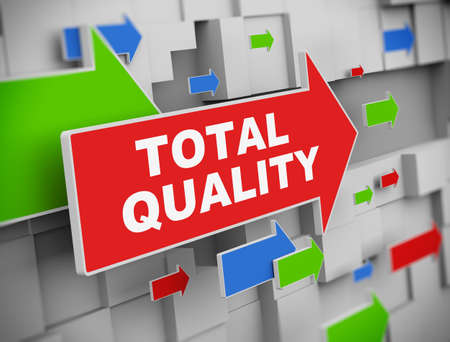 total: 3d illustration of moving arrow of total quality on abstract wall background. Stock Photo