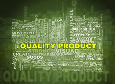 branded product: Illustration of word tags wordcloud  of quality  product Stock Photo