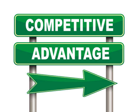 advantage: Illustration of green arrow and road sign of competitive advantage Stock Photo