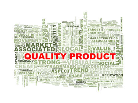 branded product: Illustration of wordcloud word tags of quality  product concept Stock Photo