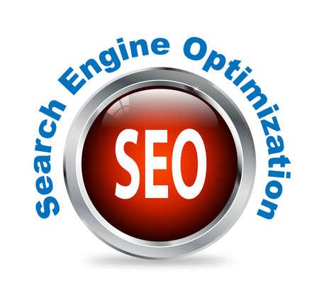 search engine optimized: Illustration of shiny round glossy button of search engine optimization  - seo Stock Photo