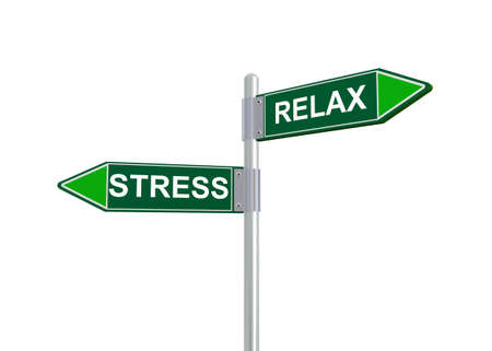 worry tension: 3d illustration of relax and stress road sign