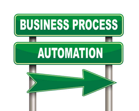 formalization: Illustration of green arrow and road sign of Business process automation