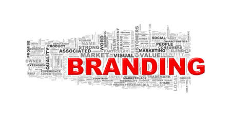 branded: Illustration of wordcloud word tags of concept of branding