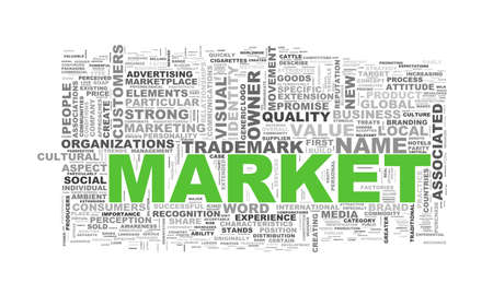 medium: Illustration of wordcloud word tags of concept of market Stock Photo