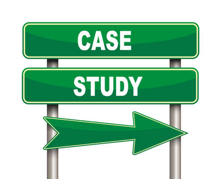 Illustration of green arrow and road sign of case study Stock Photo