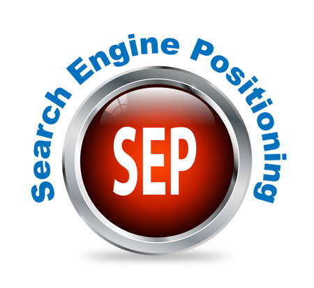 search engine optimized: Illustration of shiny round glossy button of search engine positioning - sep