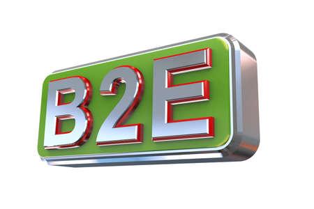 b2e: 3d illustration concept presentation of b2e - business to employee Stock Photo