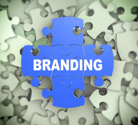 attached: 3d illustration of attached jigsaw puzzle pieces word branding presentation on background of heap of puzzle pieces