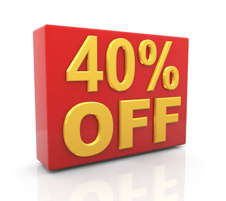 per cent: 3d illustration of 40 per cent off sale discount.