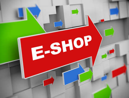 eshop: 3d illustration of moving arrow of e-shop on abstract wall background.